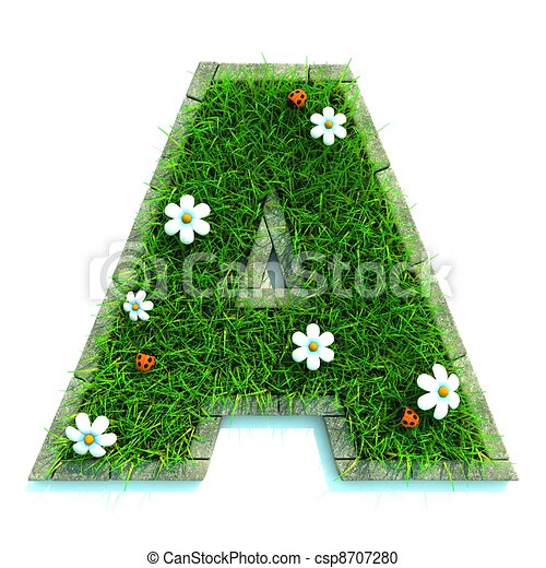 Beautiful Spring Letters made of Grass and Flowers Surrounded with  Border - csp8707280