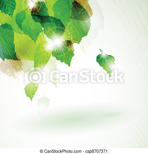 Abstract green foliage with light effects - csp8707371
