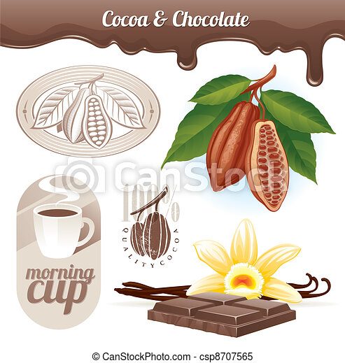 Cocoa beans and chocolate - csp8707565