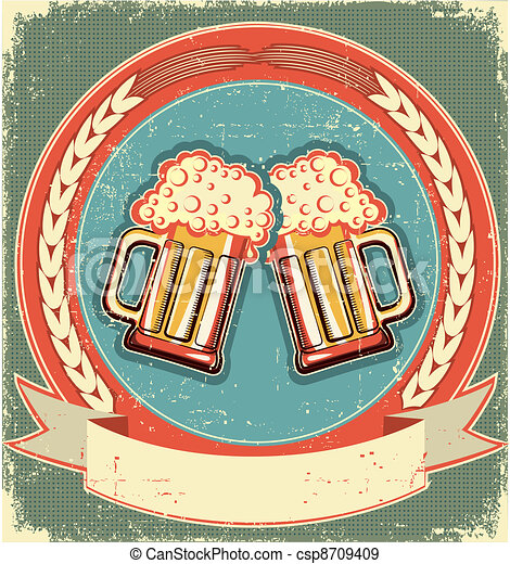 Beer label set on old paper texture.Vintage background - csp8709409
