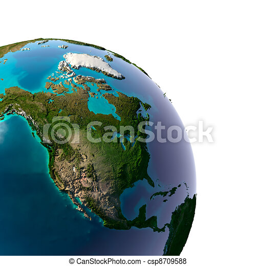 Realistic Planet Earth with natural water - csp8709588