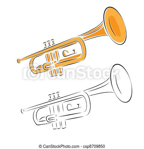 trumpet set isolated on white background - csp8709850