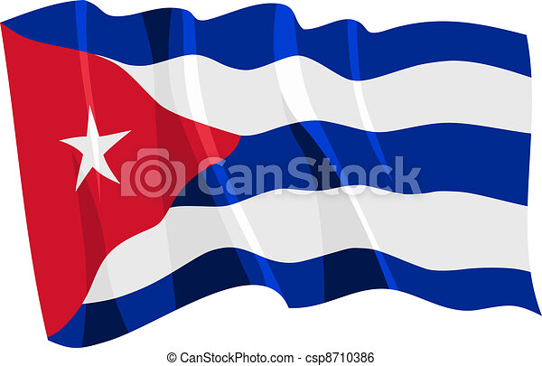 Political waving flag of Cuba - csp8710386