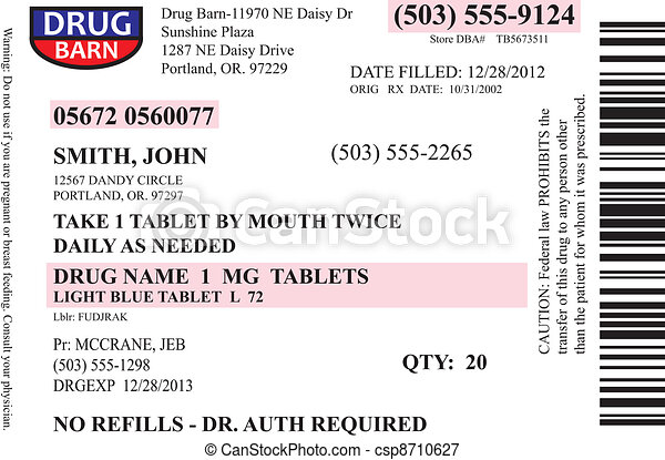 Vectors Illustration Of Prescription Label Vector A
