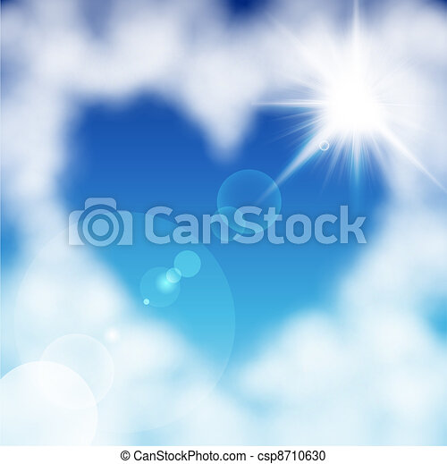Heart shaped cloud in the blue sky - csp8710630