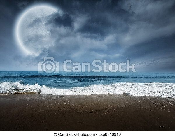 Fantasy beach scene with large moon - csp8710910