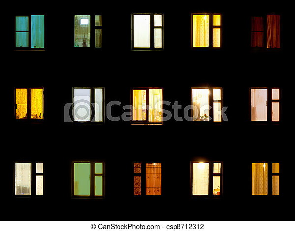 Night windows - block of flats background - csp8712312