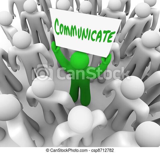 Communicate Person Holds Sign Get Attention of Crowd People - csp8712782