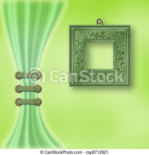 Delicate pastel background with ornate frame and light curtain  - csp8712921