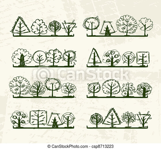 Sketch of trees on shelves for your design - csp8713223