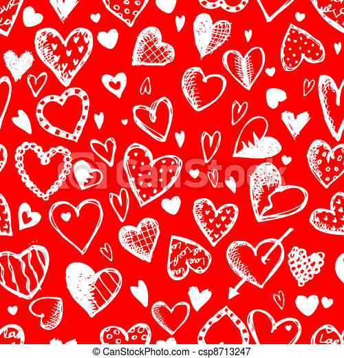 Seamless pattern with valentine hearts, sketch drawing for your design - csp8713247