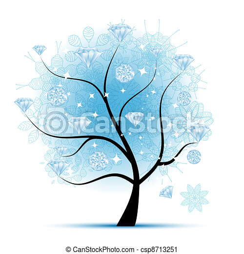 Winter tree with diamonds for your design - csp8713251