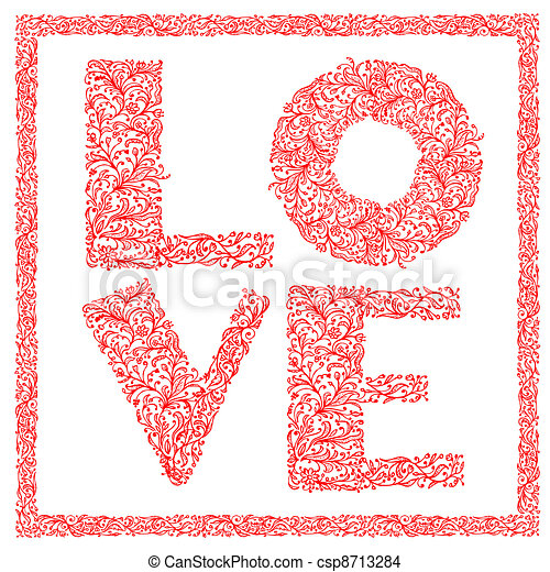 The word Love with floral ornament for your design - csp8713284