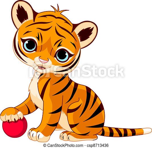 Clip Art de vectores de lindo, tigre, cachorro, juego, rojo ...