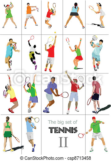 Tennis player. Colored Vector illu - csp8713458