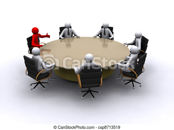 3D businessman on meeting - csp8713519