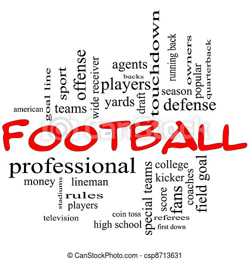 Football Word Cloud Concept in red caps - csp8713631