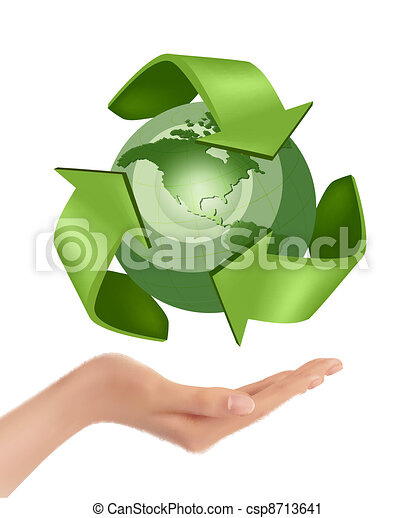 Hands holding a green earth  Vector - csp8713641