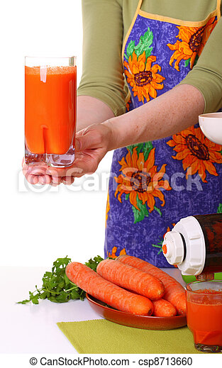 woman prepare Juice extractor and carrot - csp8713660