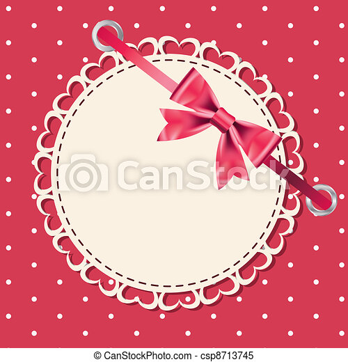 Vector greeting card with frame and bow. Space for your text or picture. - csp8713745