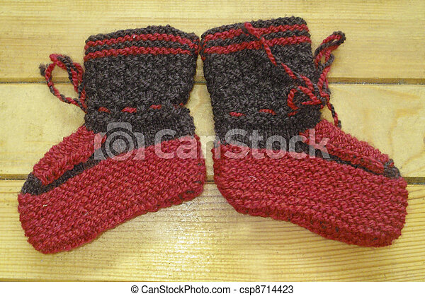 Hand knitted baby booties - csp8714423