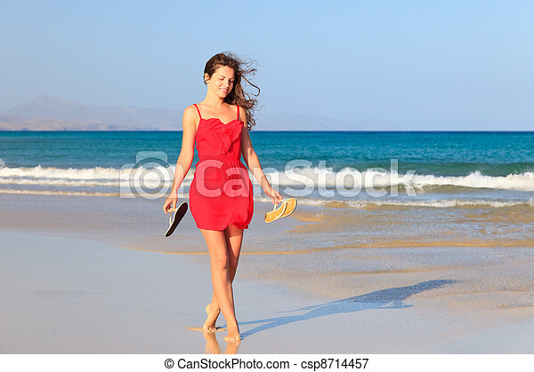 Young woman on a beach - csp8714457