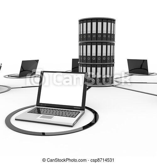 Abstract computer network with laptops and archive or database. - csp8714531