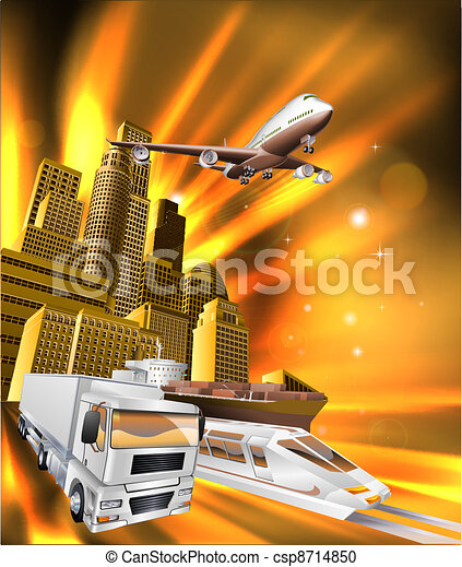 City Logistics Delivery Graphic - csp8714850
