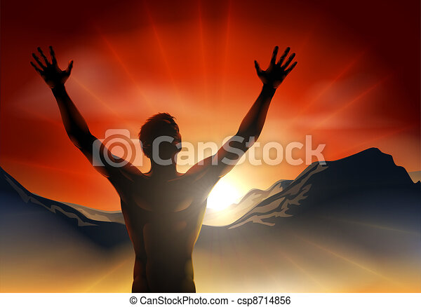 Man in silhouette arms raised on mo - csp8714856