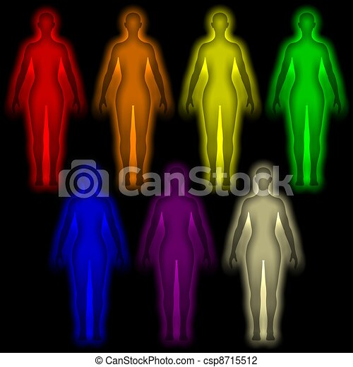 Colored human aura - energy body - csp8715512