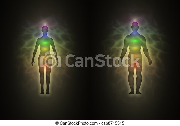 Woman and man silhouette with aura - csp8715515