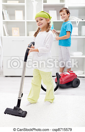 Kids cleaning the room - csp8715579