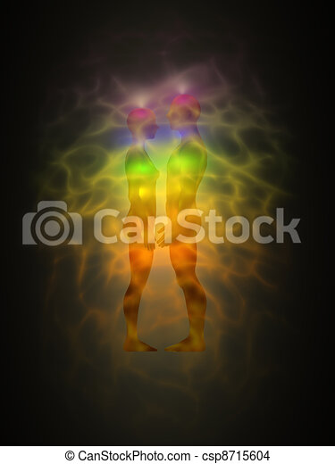 Woman and man silhouette with aura - csp8715604