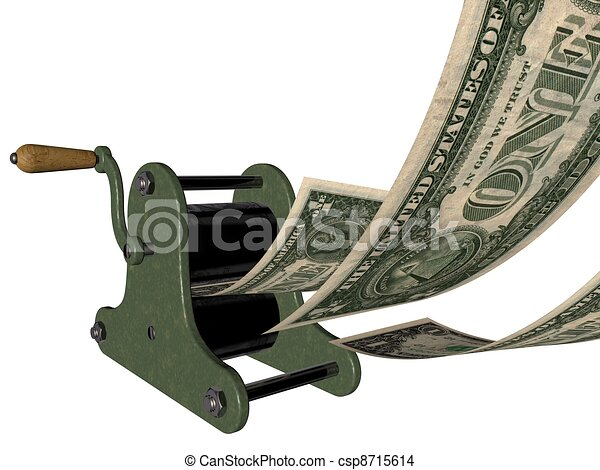 Printing money on hand press - csp8715614
