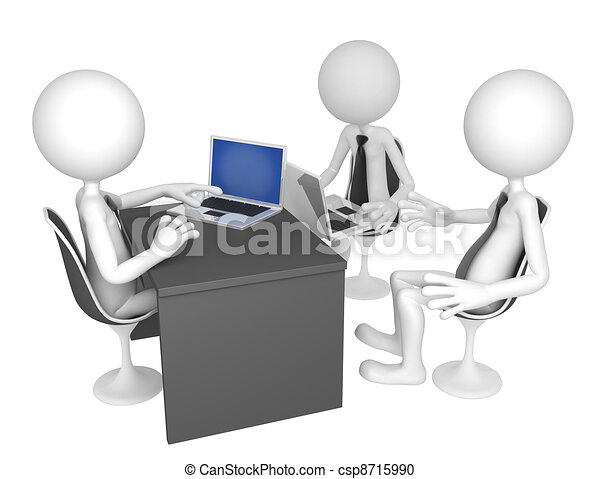 Businesspeople gathered around a table for a meeting - csp8715990
