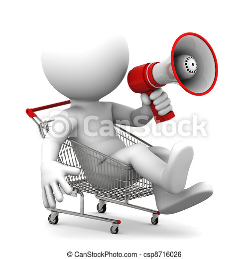 Person ith megaphone inside shopping cart - csp8716026