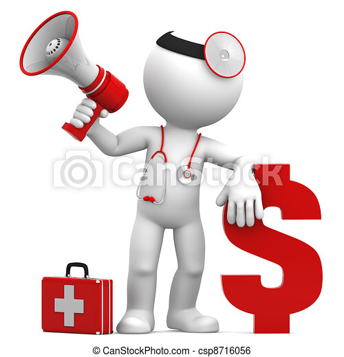 Doctor with megaphone and Dollar currency sign - csp8716056