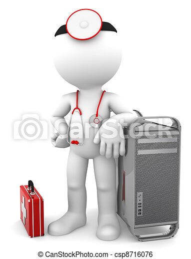 Medic with computer tower. Computer repair concept - csp8716076