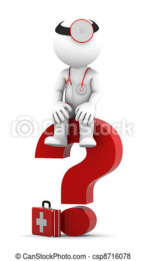 Medic sittting on question mark - csp8716078