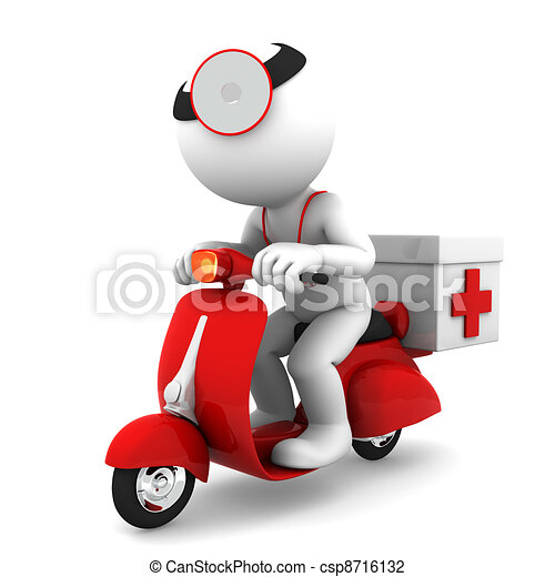 Medic on scooter. Emergency medical service concept - csp8716132