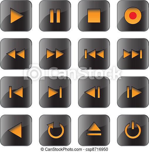 Multimedia control glossy icon set - csp8716950