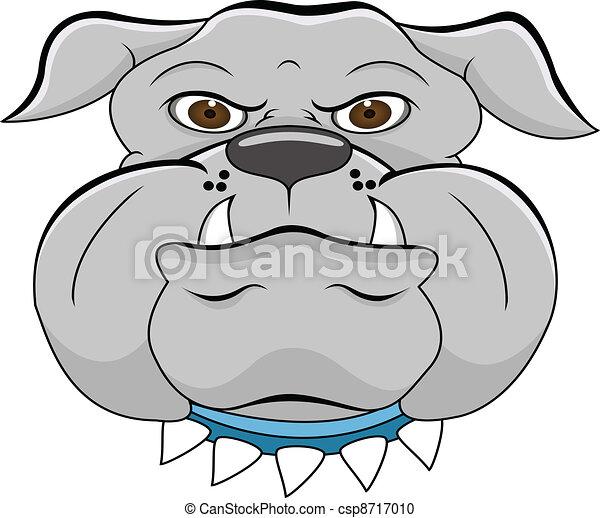 bulldog head cartoon - csp8717010