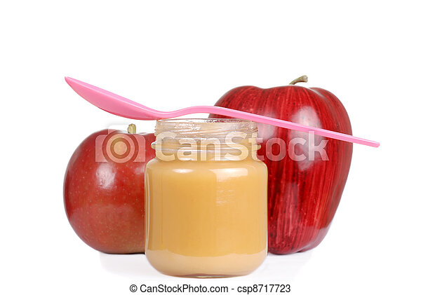 baby jar with apple sauce and spoon - csp8717723
