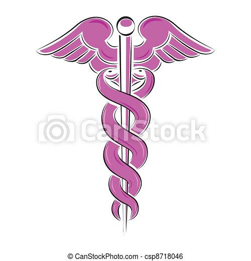 Caduceus symbol illustration isolated on white - csp8718046