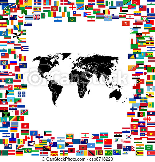World map framed with world flags - csp8718220