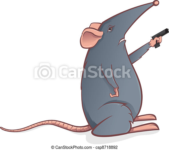 Grey mouse with a pistol - csp8718892