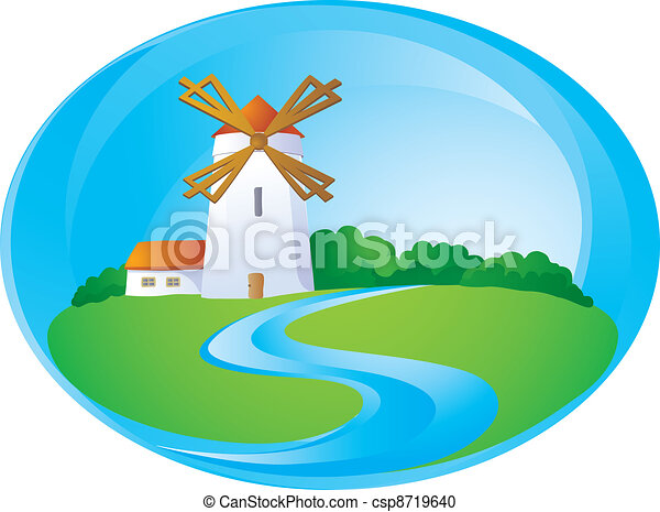 Rural background with windmill - csp8719640