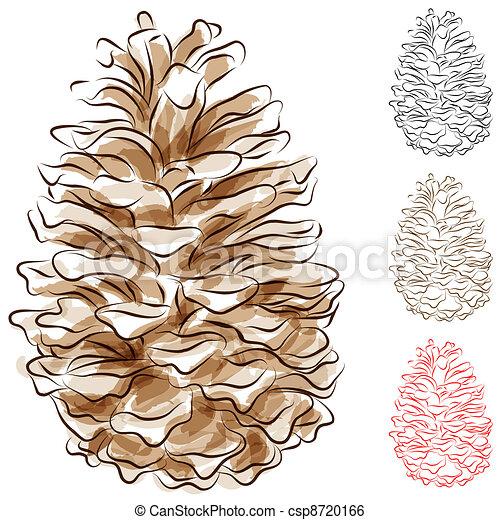 Watercolor Pine Cone - csp8720166