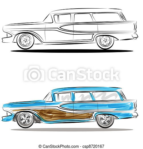 Watercolor Station Wagon Line Art - csp8720167