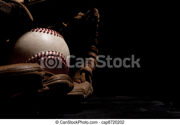 Worn Baseball and Glove - csp8720202
